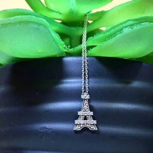 Jewelry - Pave Diamond Sterling Silver Eiffel Tower Necklace